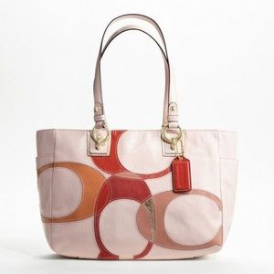 COACH F17127 Inlaid C Patent Leather Tote Bag